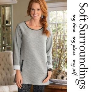 Soft Surroundings Quilted Gray Tunic  Size M